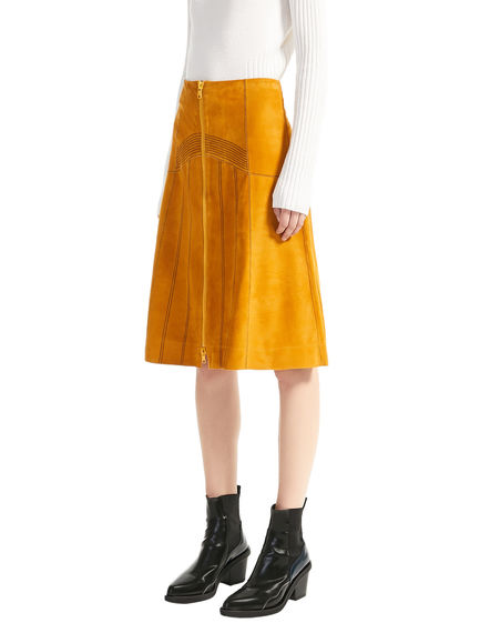 Zip-front Suede Skirt