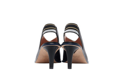 Stripe Detail Leather Slingbacks