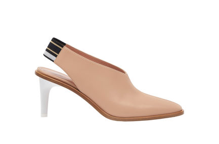 Stripe Detail Leather Slingbacks Sportmax