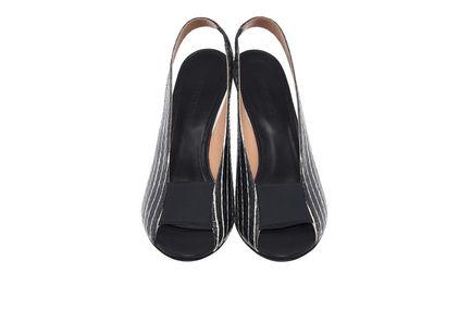 Striped Peep-toe Stilettos