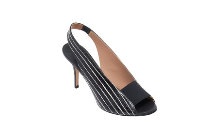 Striped Peep-toe Stilettos