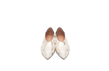 Silver Flower Leather Flats