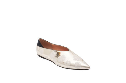 Silver Flower Leather Flats Sportmax