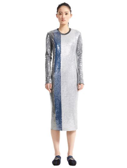 Striped Metallic Sequinned Jersey Dress