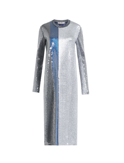 Striped Metallic Sequinned Jersey Dress