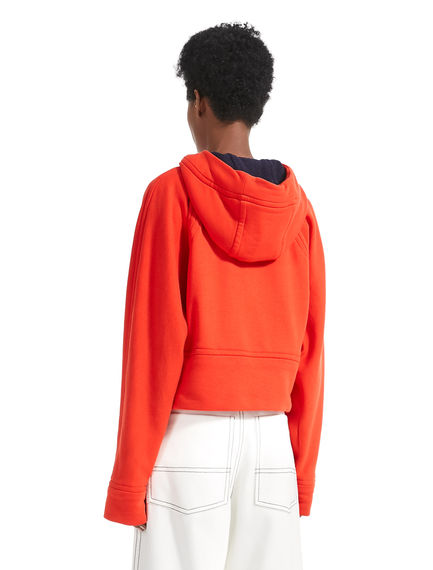 Cropped Cotton Fleece Hooded Top