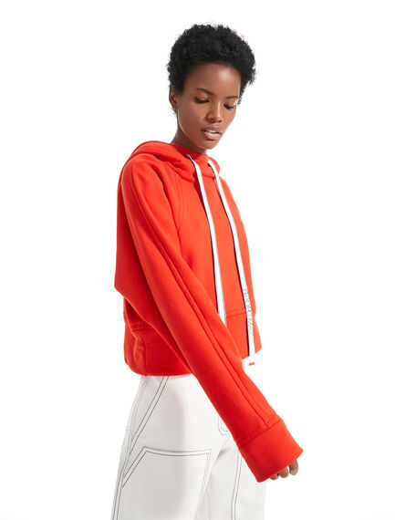 Cropped Cotton Fleece Hooded Top Sportmax
