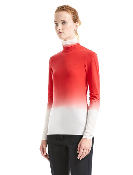 Shadow Print Polo Neck Top