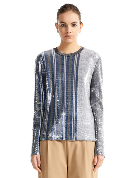 Striped Metallic Sequin Sweater