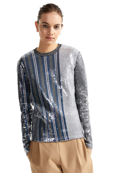 Striped Metallic Sequin Sweater Sportmax