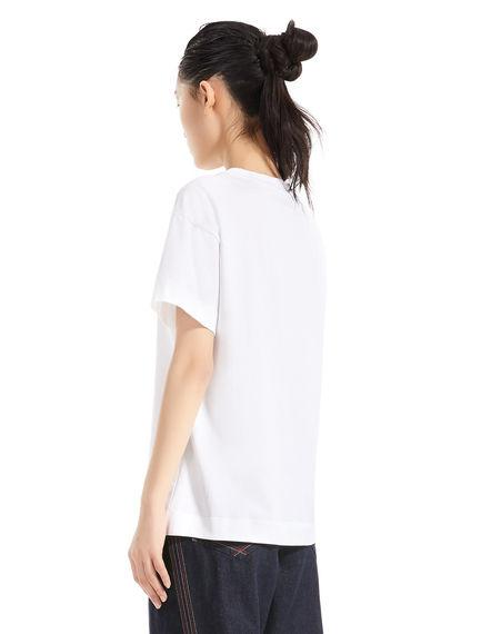T-shirt in jersey di cotone con logo a rilievo