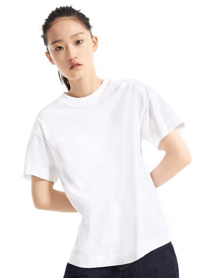 T-shirt in jersey di cotone con logo a rilievo Sportmax