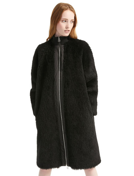 Wool Fur Cocoon Coat