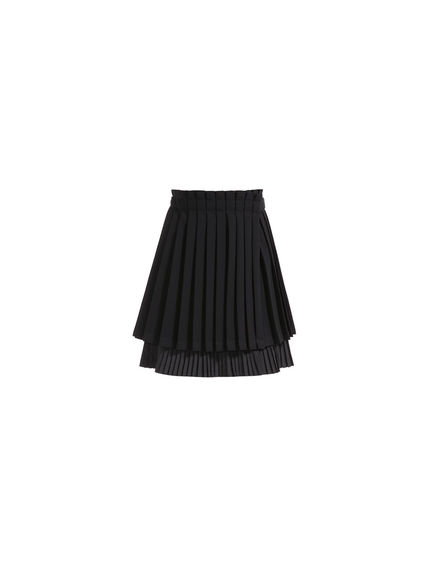 Layered Pleat Short Skirt