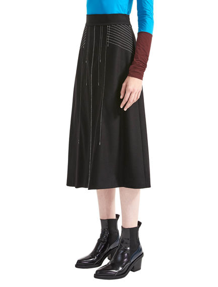 Contrast Stitch Flared Midi Skirt