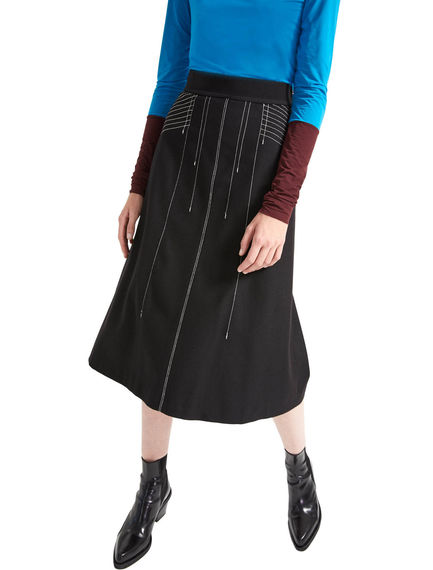 Contrast Stitch Flared Midi Skirt Sportmax