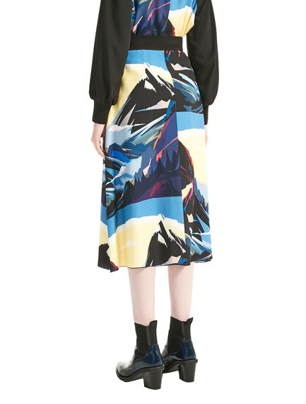 Postcard Print Viscose Fishtail Skirt