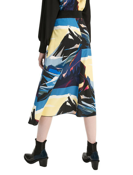 Postcard Print Viscose Fishtail Skirt Sportmax