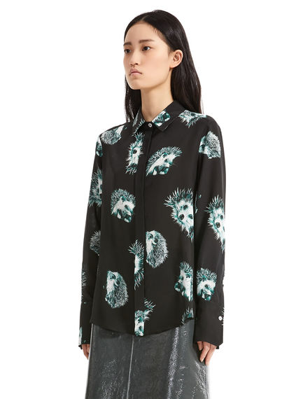 Hedgehog Print Silk Blouse