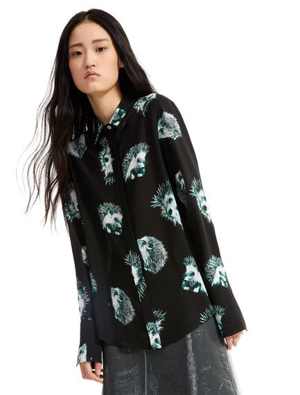 Hedgehog Print Silk Blouse
