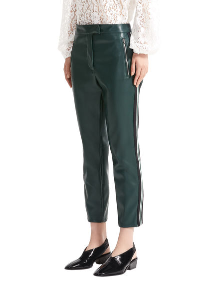 Leather-effect Cropped Cigarette Trousers