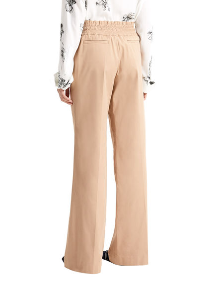 Wide Leg Drawstring Twill Trousers