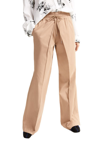 Wide Leg Drawstring Twill Trousers Sportmax