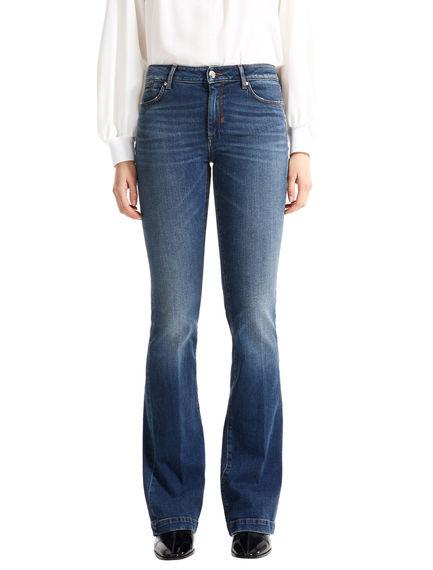 Washed Indigo Flared Jeans
