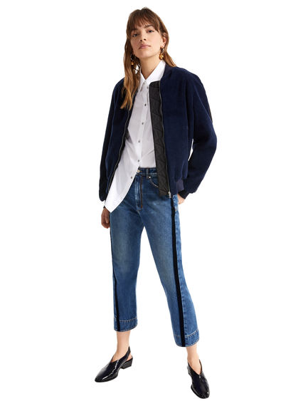 Velvet Stripe Cropped Boyfriend Jeans