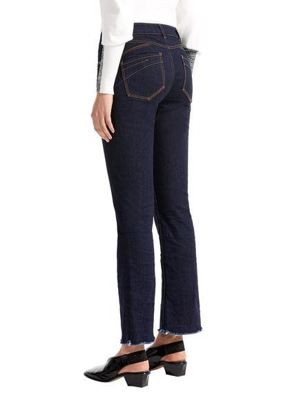 Mini-flare Fringed Hem Jeans