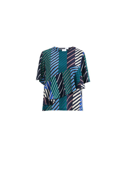 Regimental Stripe Silk T-shirt Sportmax