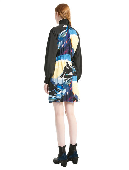 Postcard Print Viscose & Crepe de Chine Tunic Dress