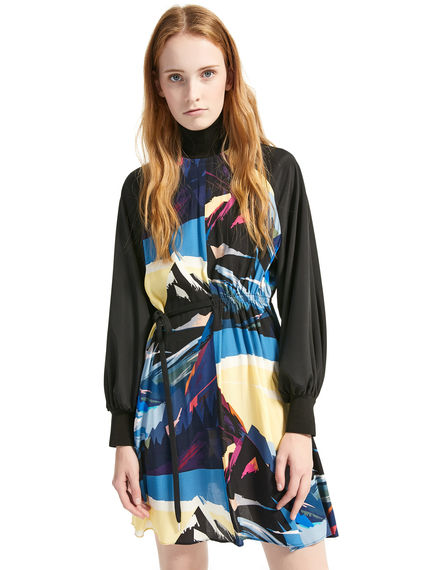 Postcard Print Viscose & Crepe de Chine Tunic Dress Sportmax