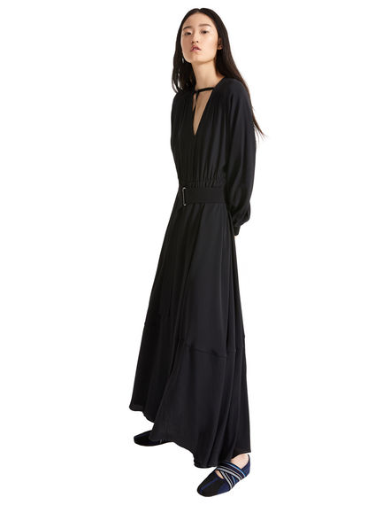 Maxi dress in crêpe con cintura Sportmax