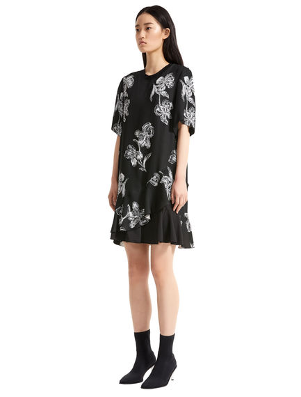 Iris Print Ruffled Mini Dress
