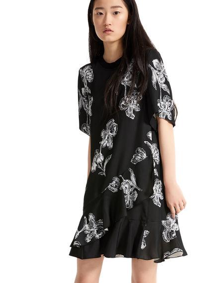 Iris Print Ruffled Mini Dress