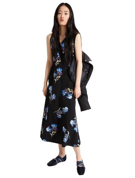 Iris Print Crêpe Midi Dress