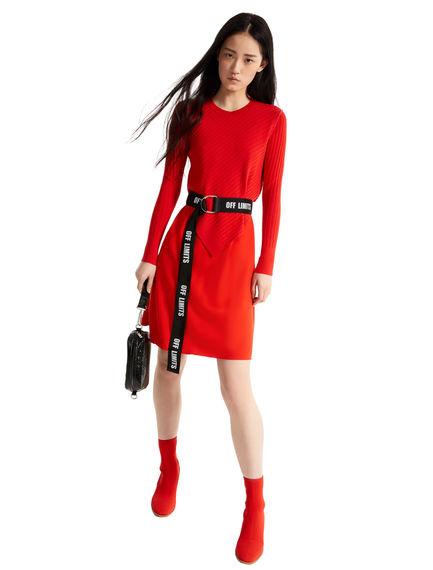 Geometric Layered Knit-top Dress