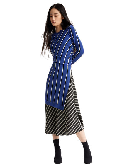 2-in-1 Asymmetric Stripe Dress