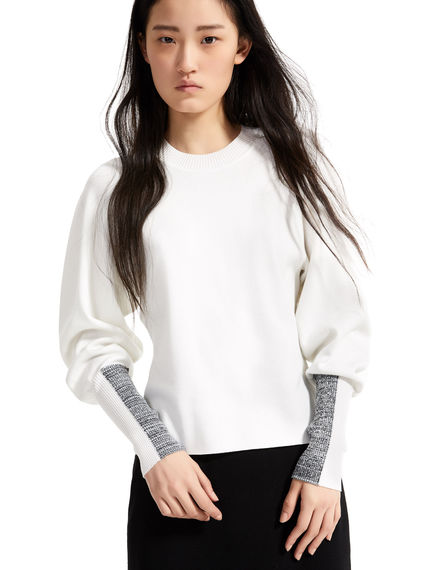 Intarsia Sleeve Viscose Sweater