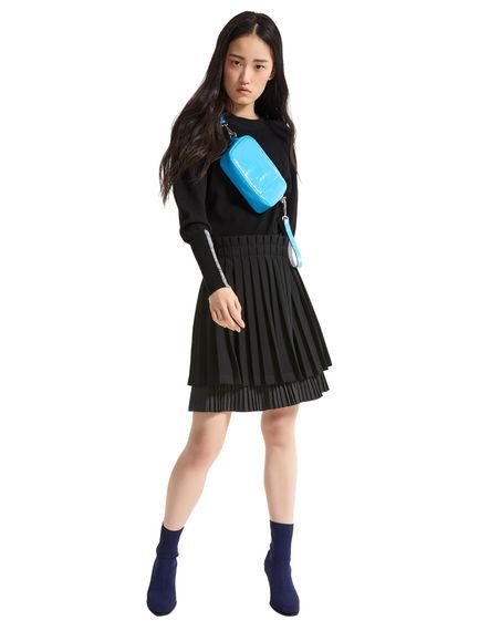 Intarsia Sleeve Viscose Sweater