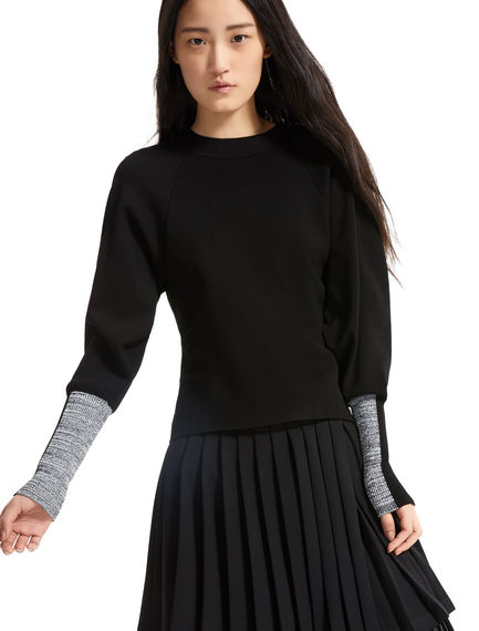 Intarsia Sleeve Viscose Sweater Sportmax