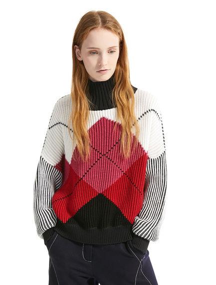 Maglione in lana a coste motivo Argyle Sportmax
