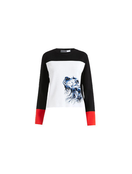 Dog Motif Jacquard Sweater