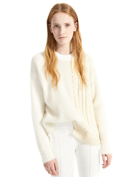 Contrast Knit Alpaca Sweater