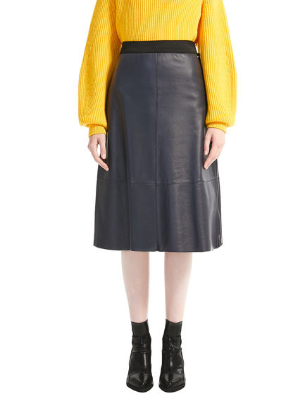 Nappa Leather Midi Skirt