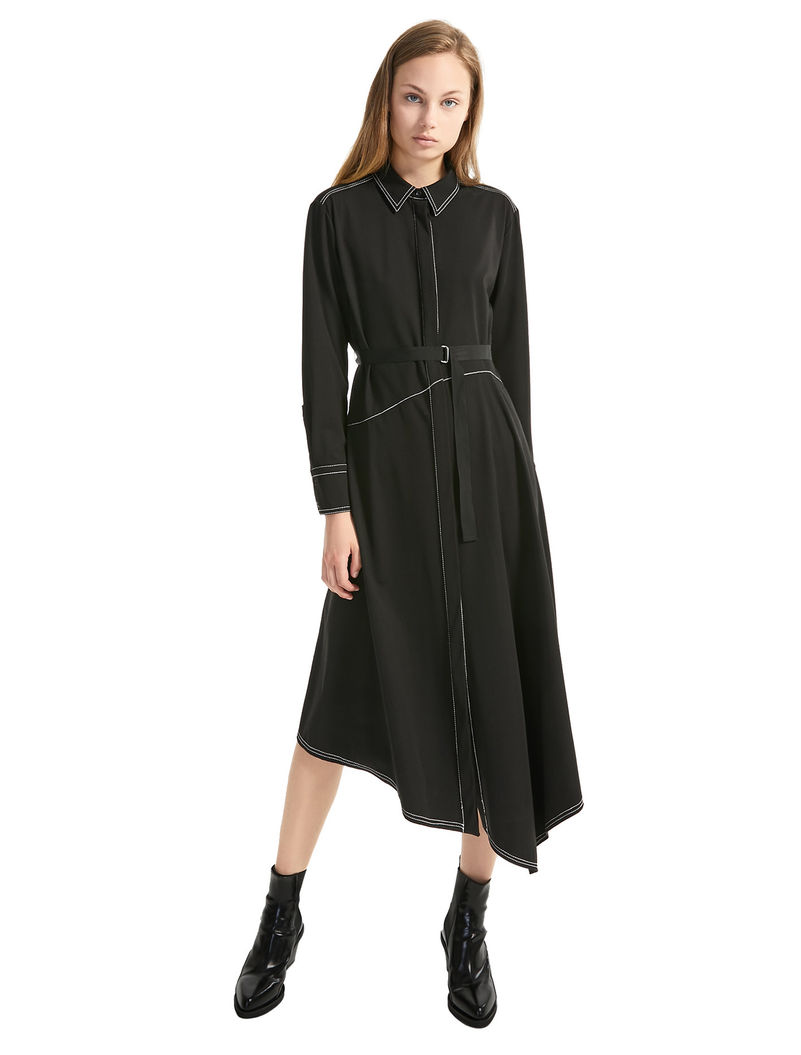 495963c112f1 Asymmetric Shirt Dress, black - Sportmax