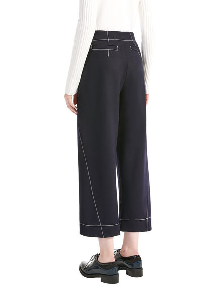 Contrast Stitch Cropped Wool Trousers