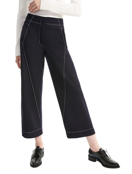 Contrast Stitch Cropped Wool Trousers Sportmax