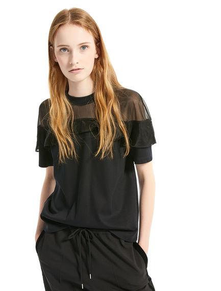 Semi-sheer Flounce T-shirt